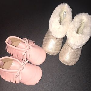 Baby Girl Boots and Pink Moccasins 6-12 Months
